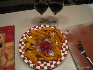 Sweet potato fries and red wine