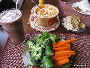 Smoothie, veggies, and hummus