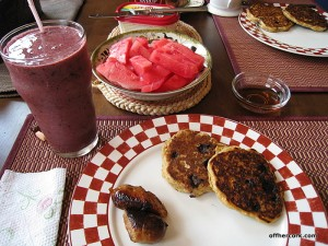 Smoothie, sausage, pancakes, and watermelon
