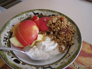 Apple, yogurt, and granola
