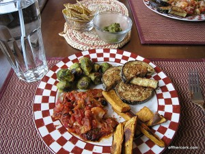 Pepper, sweet potato fries, brussel sprouts, and eggplant
