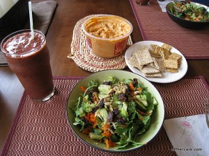 Smoothie, salad, and hummus