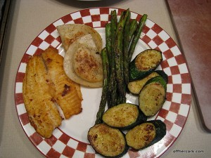 Fish, zucchini, asparagus, pierogies