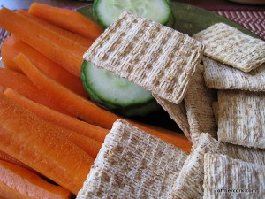 Carrots, cucumber, and crackers