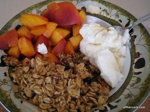 Granola, nectarine, yogurt