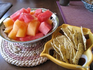 Watermelon, cantaloupe, flax chips