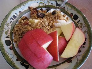 apple, yogurt, and granola