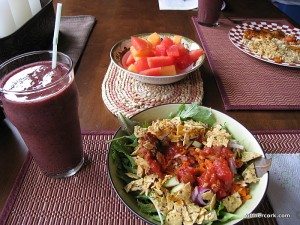 Smoothie, salad, and fruit