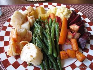 Roasted veggies, seafood, and polenta