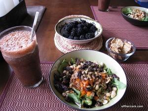 Smoothie, salad, and blackberries