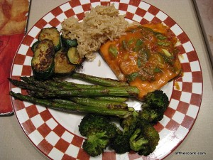 Roasted veggies and salmon