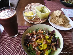 Smoothie, salad, fruit, and guacamole