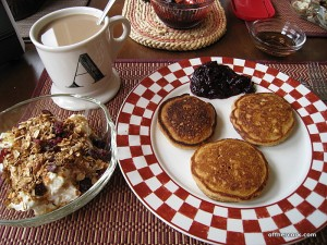Pancakes, yogurt, and coffee