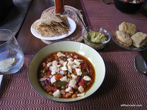 Chili, guacamole, and cornbread
