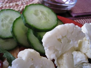 Cucumber and cauliflower