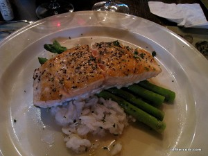 Salmon, rice, and asparagus
