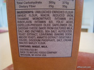 Back to Nature Cheddar Crackers Ingredient List