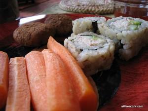 Carrot, sushi, falafel