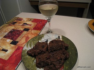 Chocolate zuccini bread and wine