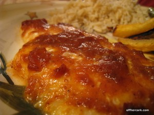 Flounder with bbq sauce