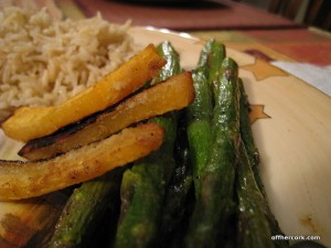 Roasted asparagus and rutabaga
