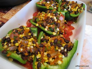 Black bean and corn stuffed peppers
