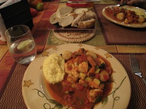 polenta and shrimp and scallops