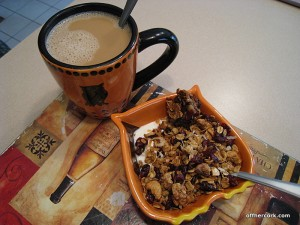 Coffee with yogurt and granola