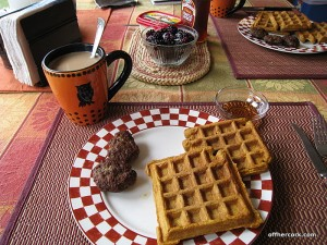 Waffles, sausage, and coffee
