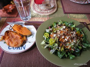 Salad and baked sweet potato
