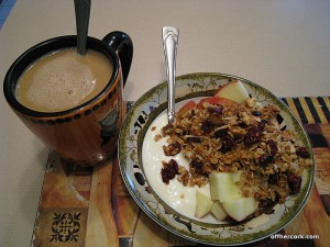 Coffee and yogurt and granola