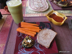 Smoothie, soup, snack plate