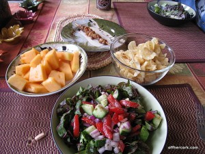 Salad, cantaloupe, chips
