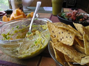 Chips, guac, and cantaloupe