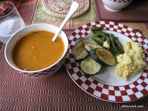 Soup, veggies, polenta