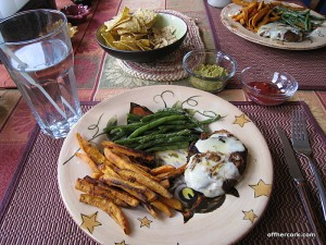 Burger, fries, and green beans