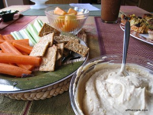 Hummus, veggies, and crackers