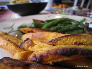 Sweet potato fries and green beans