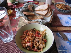 Pasta and bread