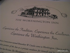 The Worthington Inn menu