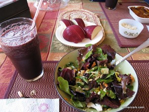 Smoothie, salad, and apple