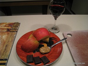 Apple, chocolate, PB, and red wine