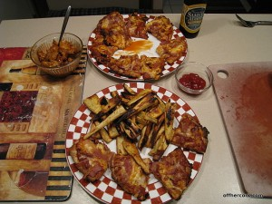 Pita pizzas and parsnip fries