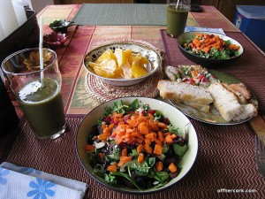 Salad, smoothie, and fruit