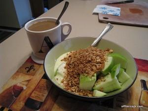 Coffee, yogurt, and fruit