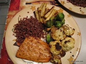 Fish, rice, and veggies