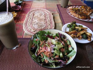 Smoothie, salad, and veggies
