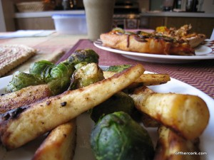 Brussel spouts and parsnips