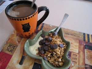 Coffee, yogurt, granola