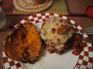 Stuffed pepper and baked sweet potato